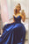 A Line Sweetheart Sweep Train Sleeveless Long Senior Navy Blue Satin Prom Dress Party Dress OHC332 | Cathyprom