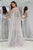 Elegant Grey Star Floral Tulle Long Sleeves A Line Senior Prom Dress Evening Dress OHC385 | Cathyprom