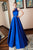 Elegant A Line High Neck Open Back Sleeveless Beaded Long Royal Blue Satin Waistline Prom Dress OHC335 | Cathyprom