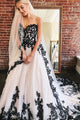 Charming A Line Sweetheart White Tulle Black Lace Long Formal Prom Dress Evening Dress OHC373 | Cathyprom