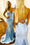 Mermaid Spaghetti Strap Sleeveless Light Blue Satin Long Satin Prom Dress Evening Dress OHC333 | Cathyprom
