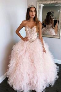 A Line Sweetheart Pink Tulle Beaded Layered Long Sweet Prom Dress Prom Gown OHC371 | Cathyprom