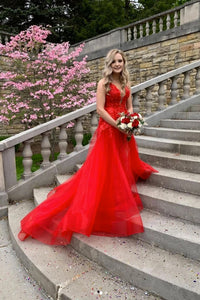 Customize A Line V Neck Sleeveless Lace Applique Long Red Tulle Prom Dress Evening Dress OHC326 | Cathyprom