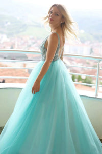 Unique A Line Lace Applique Sleeveless Backless Long Green Tulle Senior Prom Dress OHC360 | Cathyprom