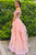 A Line Off The Shoulder Lace Strapless Short Sleeves Long Pink Tulle Prom Dress Evening Dress OHC362 | Cathyprom