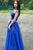 A Line Floor Length Royal Blue Tulle Cap Sleeve Long Prom Dress With Slit OHC366 | Cathyprom