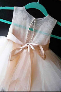 A-Line Tulle Beads Appliques Scoop Button Cap Sleeve Flower Girl Dresses OHR022 | Cathyprom