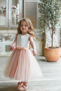 A Line Sleeveless  Round Neck Sleeveless Tulle Flower Girl Dresses OHR039 | Cathyprom