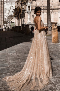Sexy A line Deep V Neck Spaghetti Straps Backless Prom Dresses, Sequins Long Party Dress CA353