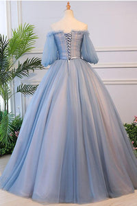 Unique Ball Gown Off The Shoulder Half Sleeves Embroidery Long Tulle Prom Dress/Evening Dress OHC262 | Cathyprom