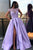 Chic Satin Short Sleeve Scoop Split Beads Purple Slit Open Back Long Prom Dresses CAW61