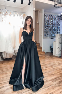 Elegant A Line V Neck Sleeveless Satin Prom Dresses Evening Dresses OVR003