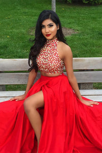 Two Pieces Jewel Sweep Train Sleeveless Beaded Split Long Satin Prom Dresses OHC265 | Cathyprom