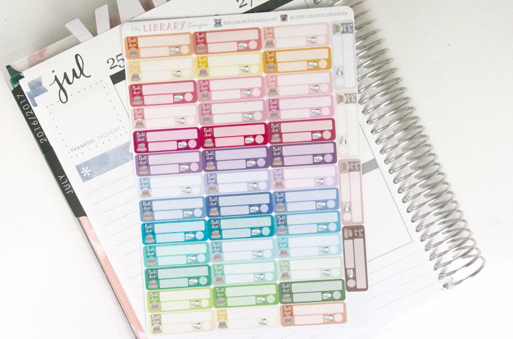 Bill Due Planner Stickers, hand drawn functional rainbow labels for tracking bill payments