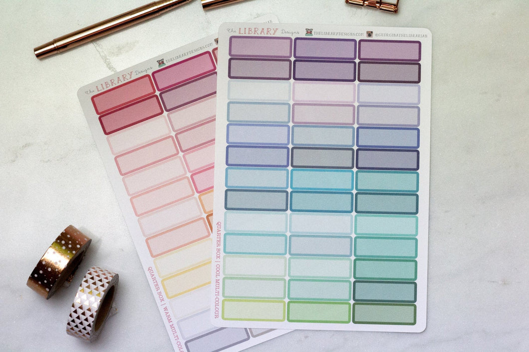39 Quarter Box multi colour Planner stickers perfect for Erin Condren, Inkwell Press, Happy Planner