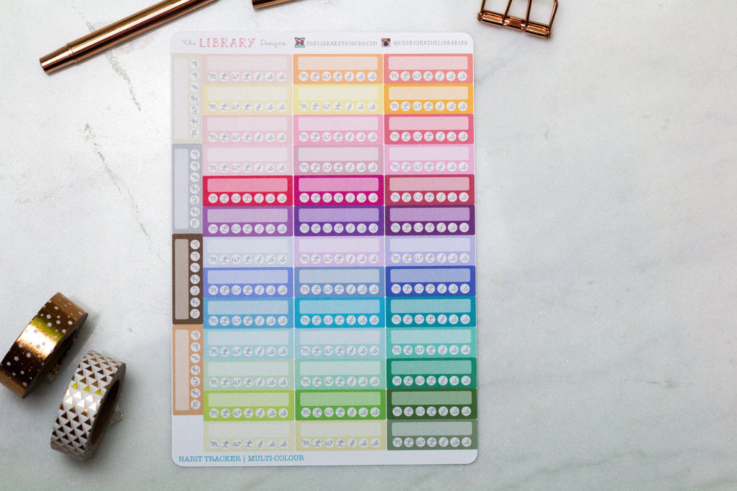 Weekly Habit tracker Hand Drawn Planner Stickers