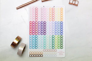 42 Scallop 6 Point checklist, multi colour planner stickers perfect for Erin Condren, Filofax, Kikki K, Happy Planner, Inkwell Press
