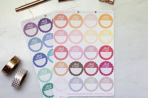 20 Scallop Don't Forget Circles, multi colour Planner Stickers for Erin Condren, Inkwell Press, Happy Planner