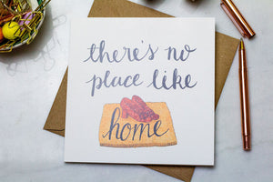 There's no place like home illustrated greetings card, Wizard of Oz moving housewarming card
