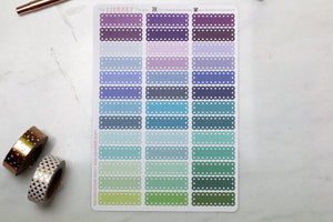 39 Lace Scallop Quarter Box multi-colour Planner Stickers