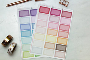 Scallop Half Box Planner Stickers pretty cute labels in a range of colors