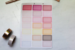 21 Lace Scallop half Box multi-colour Planner Stickers