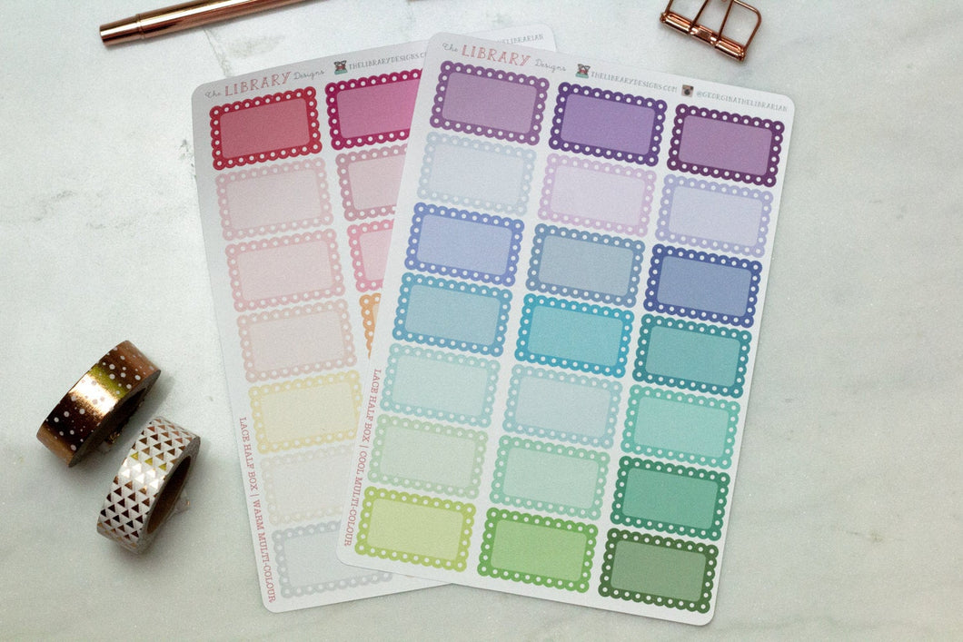 21 Lace Scallop half Box multi-colour Planner Stickers for Erin Condren, Inkwell Press, Happy Planner