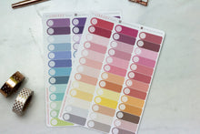 Load image into Gallery viewer, Appointment planner stickers, multi colour event labels in warm and cool tones to suit all planner spreads with space for icon