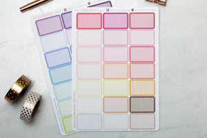 21 Half Box multi colour Planner Stickers perfect for Erin Condren, Inkwell Press, Happy Planner