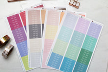 Load image into Gallery viewer, Header Planner Sticker Multi colour skinny labels 12 sets in a selection of colours