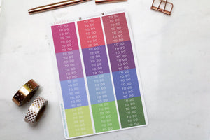 Header Planner Sticker Multi colour skinny labels 12 sets in a selection of colours