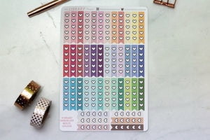 42 Heart checklist multi colour planner stickers