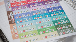5 A Day Hand Drawn Planner Stickers