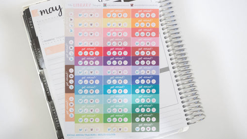 Social Media Daily Tracker Planner Stickers, Hand Drawn perfect for Erin Condren, Filofax, Kikki K, Happy Planner, Inkwell Press