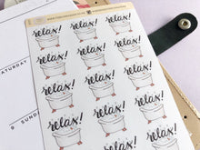 Load image into Gallery viewer, Bubble Bath Planner Sticker hand drawn relaxation and me time stickers with hand lettering