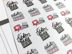 Youtube Planner Sticker hand drawn and lettered film edit and upload stickers  content creators