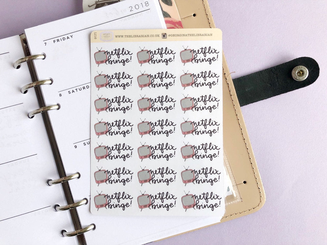 Netflix Binge Planner Stickers, hand drawn tv with hand lettered script