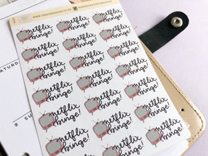Netflix Binge Planner Sticker hand drawn tv with hand lettered script