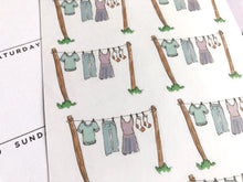 Load image into Gallery viewer, Laundry Line planner Sticker hand drawn washing reminder labels