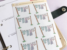 Load image into Gallery viewer, Laundry Line planner Stickers, hand drawn washing reminder labels