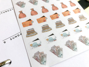 Financial Money Planner stickers hand drawn perfect for Erin Condren, Inkwell Press, Happy Planner