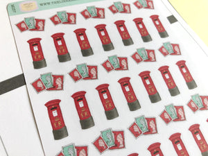 Postbox stamps mail Planner stickers hand drawn perfect for Erin Condren, Inkwell Press, Happy Planner