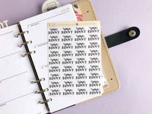 Foil Yoga Bunny script planner stickers lettering large size hand lettered