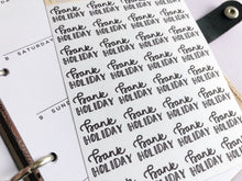 Load image into Gallery viewer, Bank Holiday script planner stickers lettering monochrome large size hand lettered