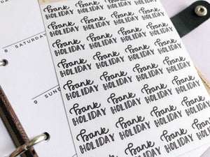 Bank Holiday script planner stickers lettering monochrome large size hand lettered