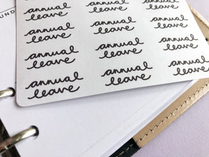 Annual Leave script planner stickers lettering monochrome large size hand lettered great for bullet journal