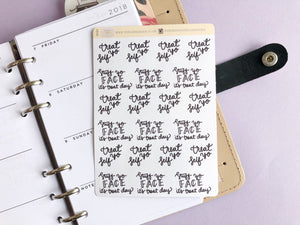 Treat day script large size hand lettered planner stickers
