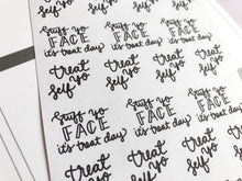 Load image into Gallery viewer, Treat day script planner stickers lettering monochrome large size hand lettered great for bullet journal
