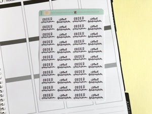 Mini Prescriptions script planner stickers hand lettering monochrome large size hand lettered