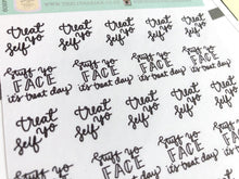 Load image into Gallery viewer, Mini Treat day script planner stickers lettering monochrome large size hand lettered